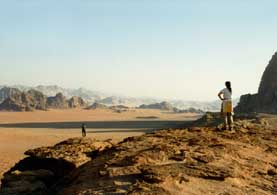 Looking across adi Rum from Jebel Qattar